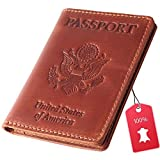 Rachiba Leather Passport Wallet - USA Embossed Travel Document and Ticket Holder