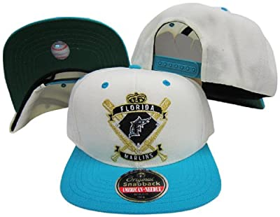 Florida Marlins Crest Two Tone Plastic Snapback Adjustable Plastic Snap Back Hat/Cap