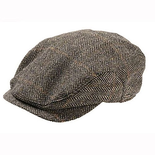 Windowpane Hat Cap (Wigens Jacob - Ivy Style Wool Herringbone Cap - Brown Herringbone - 62)