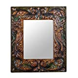 NOVICA Animal Themed Wood Wall Mounted Mirror, Multicolor 'Enchanted Reflection'