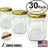 ball freezer jam containers - Hexagon Jars Gold Lid (30pcs, 6.0 oz) Hexagon Glass Jars with Gold Plastisol Lined Lids for Jam Honey Jelly Wedding Favors Baby Shower Favors Baby Food DIY Magnetic Spice Jars Crafts Canning Jars