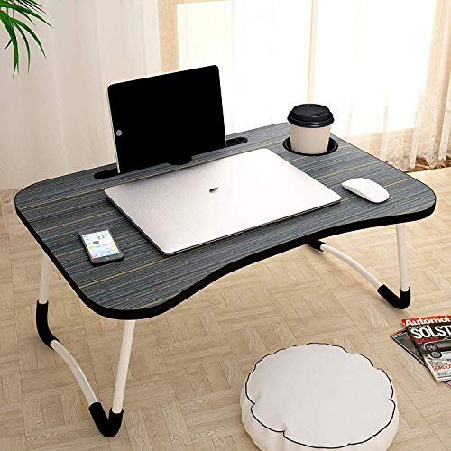 Laxify Home Folding Laptop Bed Tray Table, Portable Lap Support Frame, Bedroom Desk Notebook with Breakfast Cup Slot, Student Study Table