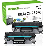 Aztech Compatible for HP Laserjet 80A CF280A Toner Cartridge Replacement for HP Laserjet Pro 400 Toner HP M401n M401dne Toner HP Laserjet Pro 400 MFP M425dn Toner Printer ( Black , 2-Pack)