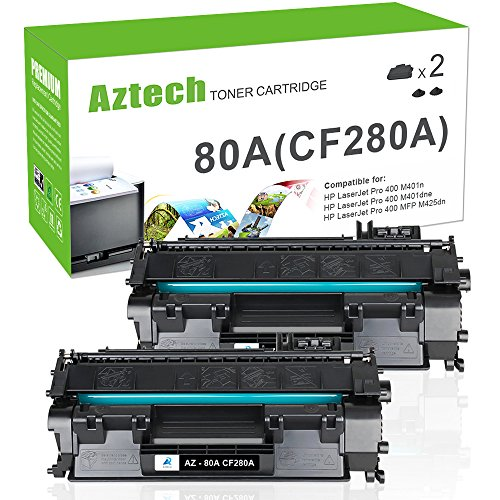 Aztech Compatible Toner Cartridge Replacement for HP Laserjet 80A CF280A 80X CF280X (Black, 2-Packs) (Hp 80a Black Original Laserjet Toner Cartridge)