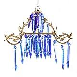IndainShelf Handmade Decorative Blue Glass Hanging Crystal Celling Lamp Chandelier