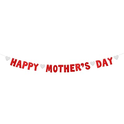 BESTOYARD Happy Mother's Day Banners Glitter Streamer Mother's Day Bunting Garland Decoration Mother's Day Favors 3 Meters (Red): Kitchen & Dining