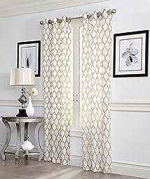 2 Piece GEO Flocked Sheer Grommet Window Curtain Panels 38\
