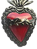 Colors of Mexico Tin Heart with Wavy Flames and
