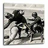 3dRose Scenes from the Past Vintage Stereoview Cards - 1928 Stereoview Image Hold Em College Football Silent Film Still - 13x13 Wall Clock (dpp_269974_2)