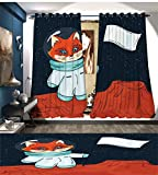 Explore Window Curtain Fabric Fox Cosmonaut Raising a Flag on an Alien Planet Outer Space Themed Illustration Drapes For Living Room Multicolor For Sale