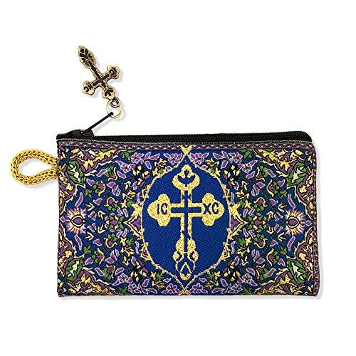 - Blue Floral Byzantine Cross Woven Tapestry Rosary Beads Bag with Zipper, 4 3/4 Inch