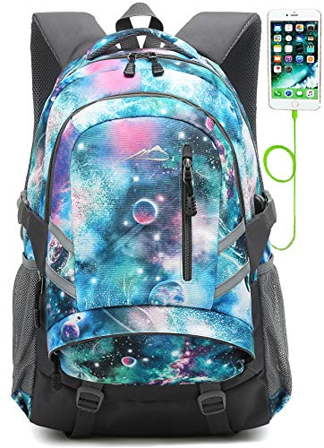 ProEtrade Backpack Bookbag For School College Student Travel Business with USB Charging Port (Galaxy Color F)
