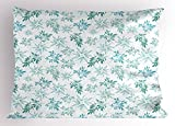 Ambesonne Teal Pillow Sham, Tropics Abstract Leaves Aloha Hawaii Foliage Vegetation Exotic Trees, Decorative Standard Size Printed Pillowcase, 26 X 20 Inches, Pale Blue Reseda Green White