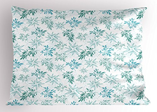 Ambesonne Teal Pillow Sham, Tropics Abstract Leaves Aloha Hawaii Foliage Vegetation Exotic Trees, Decorative Standard Size Printed Pillowcase, 26 X 20 Inches, Pale Blue Reseda Green White by Ambesonne