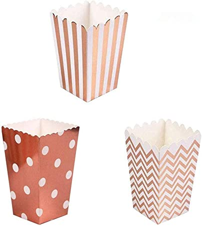 PALMFOX 36 pcs Cajas de Palomitas de maíz Cartón Bolsas de Papel de Palomitas de maíz Recipientes pequeños de golosinas para niños Decoración de la Fiesta de cumpleaños de Bodas (Oro Rosa):
