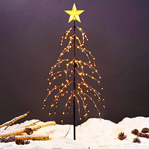 Excelvan 1.5M/5FT 176 LEDs Twinkle Star Upside-down Xmas Tree Light Warm White Light Brown Branches for Home, Bedroom, Party, Wedding, Bar, Indoor Outdoor Christmas Decoration Upside Down Christmas Trees