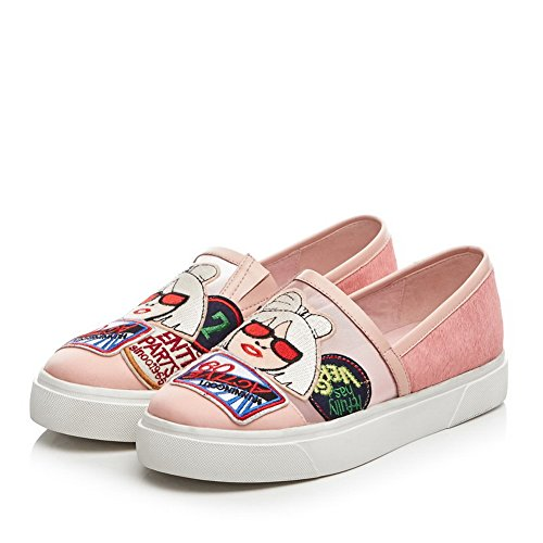 Toe Shoes Casual Closure Womens SDC04248 Round Loafers No Pink Down AdeeSu qfEwCxHwT