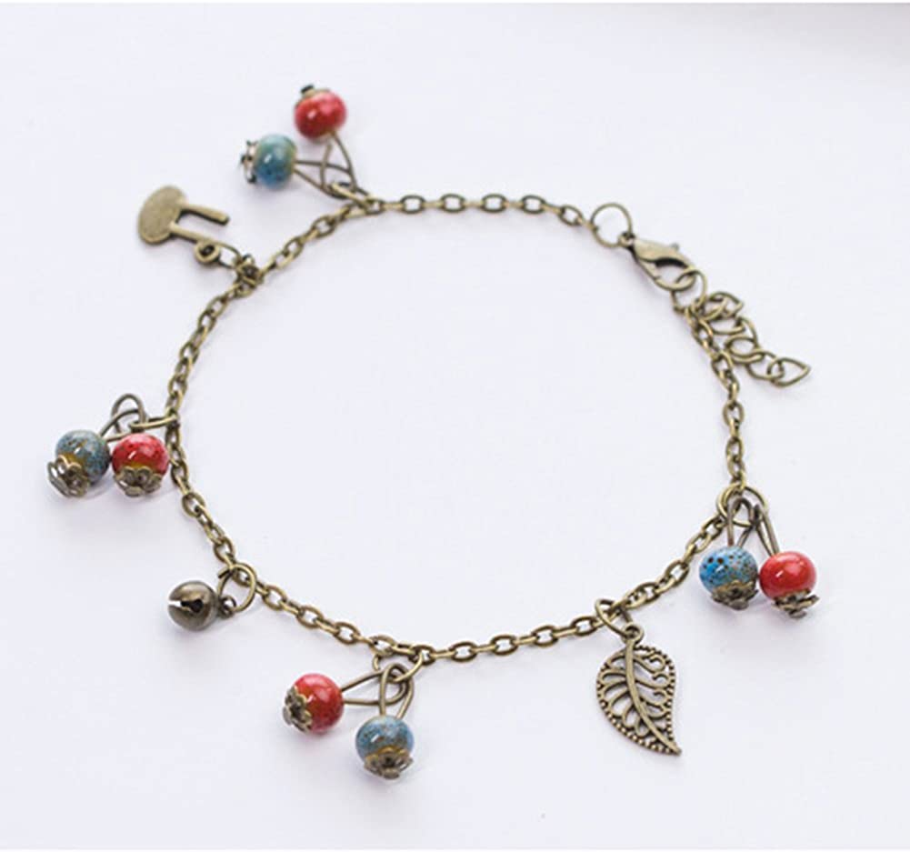 Topdo 1 Pc Lady Leaf Bell Anklet Alloy Fashion Foot Chains Beach Charm Adjustable Anklet Jewelry