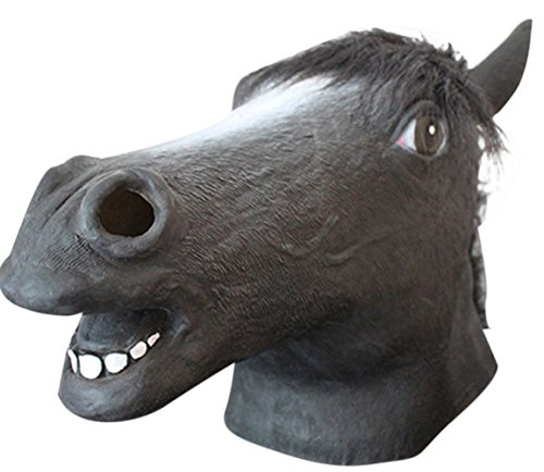 Bane Face Mask Costume (Oufeisha Deluxe Novelty Halloween Costume Latex Animal Head Mask Grey Horse)