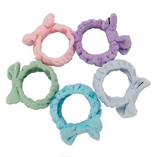 5 pcs: HBY Women Fashion Lovely Soft Bowknot Bow Makeup Cosmetic Shower Elastic Hair Band Hairlace Headband