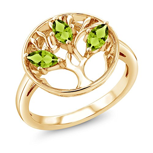 en Peridot 18K Yellow Gold Plated Silver 3-Stone Tree Of Life Ring (Stone Marquise Cut Birthstone Ring)