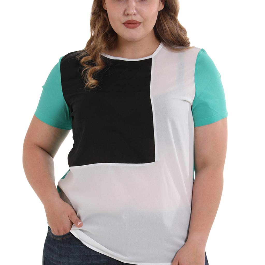 Womens Plus Size T Shirts, Spring Summer Short Sleeve Button Up Henley Blouse Casual Loose Shirt Tops