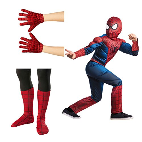 Amazing Spider-Man 2 Deluxe Child Costume Bundle Set - Large (12/14) (Deluxe Spiderman 2 Kids Costume Gloves)