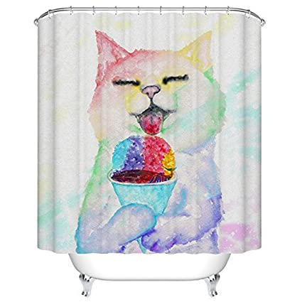Amazon.com: Goodbath Cat Shower Curtain by, Waterproof and Anti ...