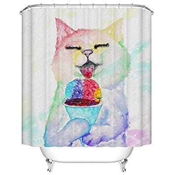 Goodbath Cat Shower Curtain, Waterproof and Anti-Resistant Fabric Bathroom Curtains, 66 x 72 Inch, Colorful