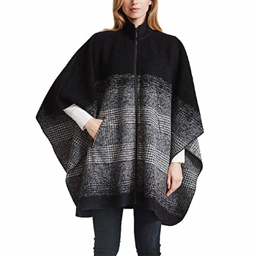Bernardo Women's Zip Front Poncho Sweater Black (Zipper Wool Sweater)