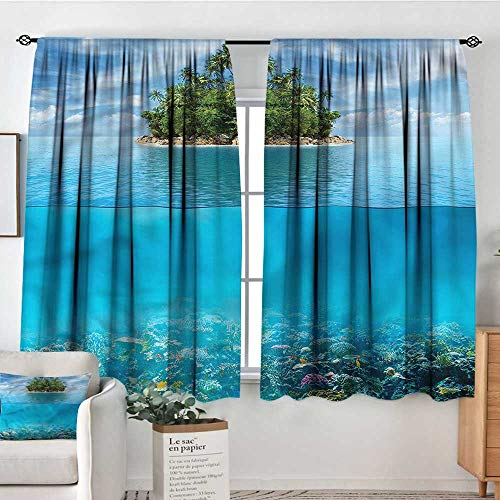 PriceTextile Tropical,Kitchen Curtains Small Island in Ocean 42