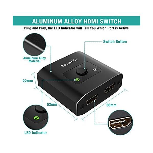 Techole HDMI Switch (Aggiornato), Alluminio Switch HDMI Bidirezionale 2 Ingressi 1 Uscita o 1 Ingresso 2 Uscite… 2 spesavip