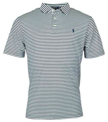 (Polo Ralph Lauren Men's Classic Fit Striped Soft Touch Polo Shirt - M - White)