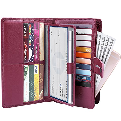 Women's Big Fat Rfid Blocking Leather wallet clutch organizer checkbook holder (Wine Red) - Prima Checkbook Wallet