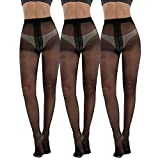 Women's Plus Size Tights 3packs 20 Denier Sheer to Waist T Crotch Nylons