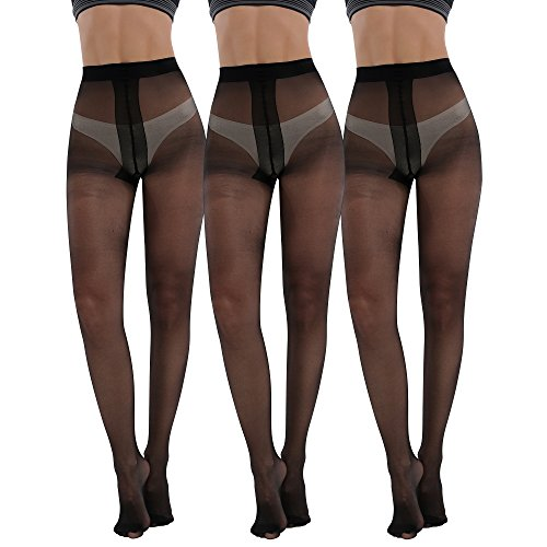 Women's Plus Size Tights 3packs 20 Denier Sheer to Waist T Crotch (Cotton Nylon Pantyhose)