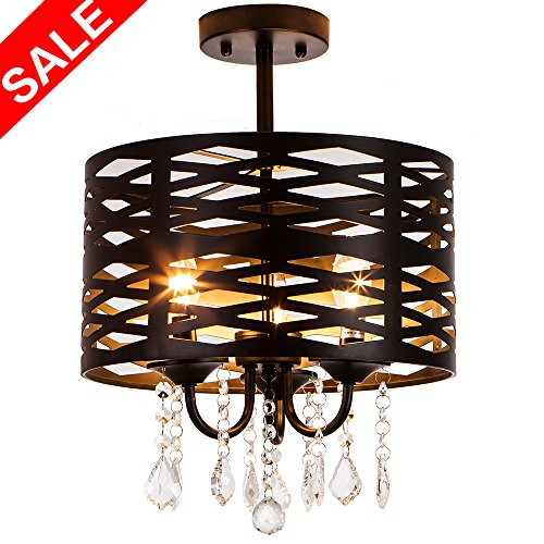 Drum Pendant Light With Crystal in Florida - 6
