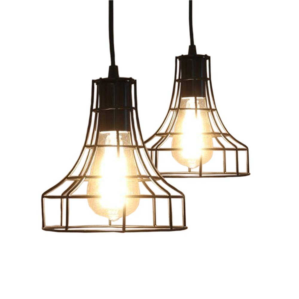2-Pack E26 Vintage Metal Cage Pendant Lamps Lighting Chandelier Light Industrial Loft Retro Metal Wire Cage Black Chandelier Hanging E26/E27 Pendant Light Fixture