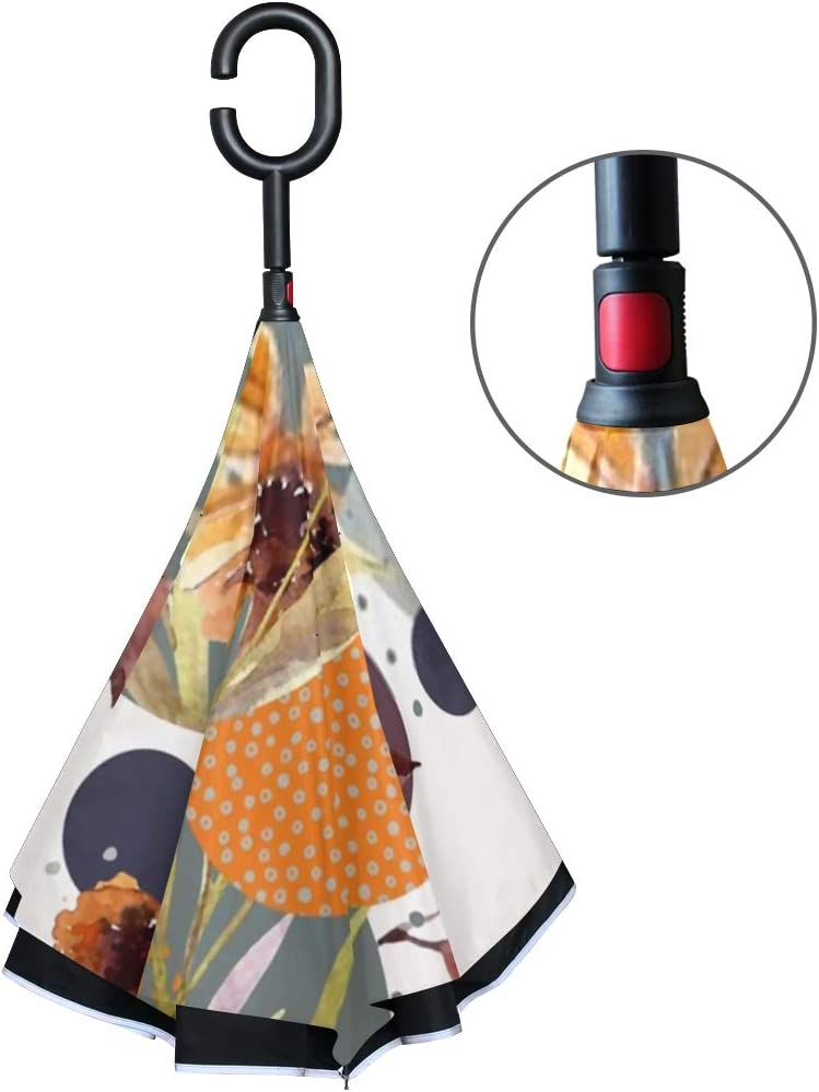 Double Layer Inverted Inverted Umbrella Is Light And Sturdy Abstract Floral Geometric Seamless Pattern Watercolor Reverse Umbrella And Windproof Umbr
