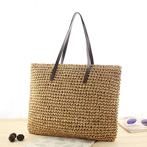 Light Woven New Beach Beach Braided Purpose Bag Outdoor Dark Sling Brown Brand Crossbody Travel Bag Bag Straw Causal Dual Brown UqYfp