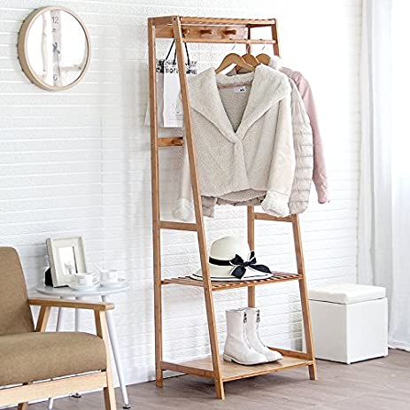 Wood coat rack simple floor multipurpose hanger clothes rack in the Foyer creative coat rack