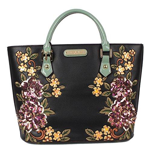 Handbag Floral Sequined - Structured Shopper Handbag Adorned with Sequined Floral Embroidery [Black]