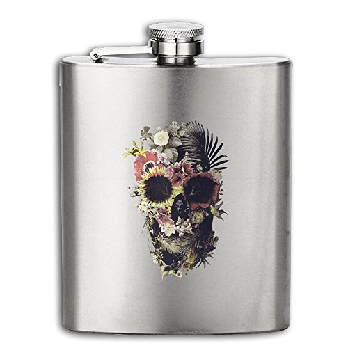 Flowers Skull Flasks Stainless Steel Liquor Flagon Retro Rum Whiskey AlcoholPocket Flask Liquor Flagon Retro Rum Whiskey Flask Great Gift 8OZ Lightweight