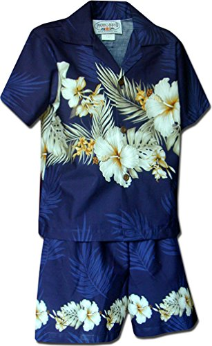 Pacific Legend Boy's Island Flowers Hawaiian Cabana Shirt