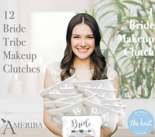 - 12 Pack Set + 1 Bride Bag | AMERIBA Premium Natural Cotton Canvas Makeup Bag- Bridesmaids Gifts for The Bachelorette Party or Bridal Shower (White & Gray)