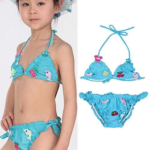 Vktech Girls Bikini Swimwear Kids Halter Neck Swimming Costume