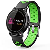 TechCode Fitness Tracker Bluetooth, Full Color OLED Smart Sports Watch with Heart Rate Sleep Monitor Pedometer Waterproof Remote Control Phone Camera Wristband Bracelet for Kids Women Men - Green