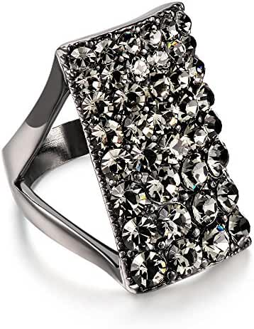 Mytys Chic White Gold Plateda Crystal Rectangular Enagement Cooktail Ring