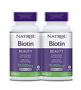 Natrol Biotin Maximum Strength Tablets, 10,000mcg , 100 Count (pack of 2)