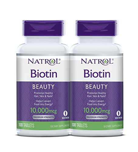 Natrol Biotin Maximum Strength Tablets, 10,000mcg , 100 Count (pack of 2) (packaging may vary)